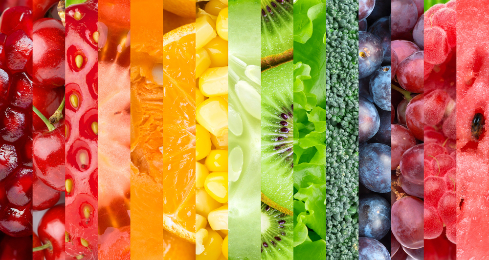 Rainbow of fruits and veg.